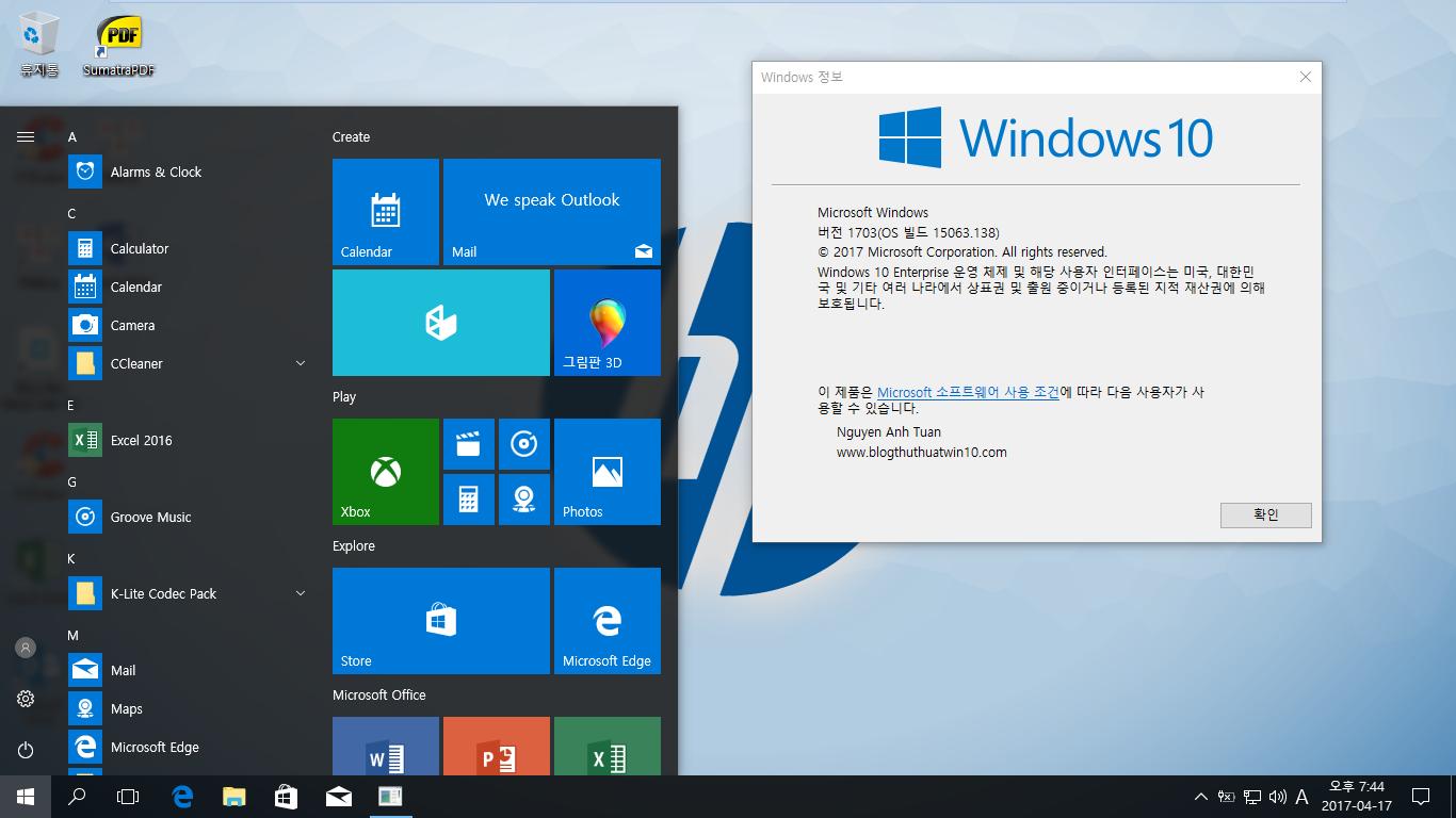 Tài liệu rebuild Windows 10, Version 1703 tích hợp phần mềm và nhiều ngôn ngữ