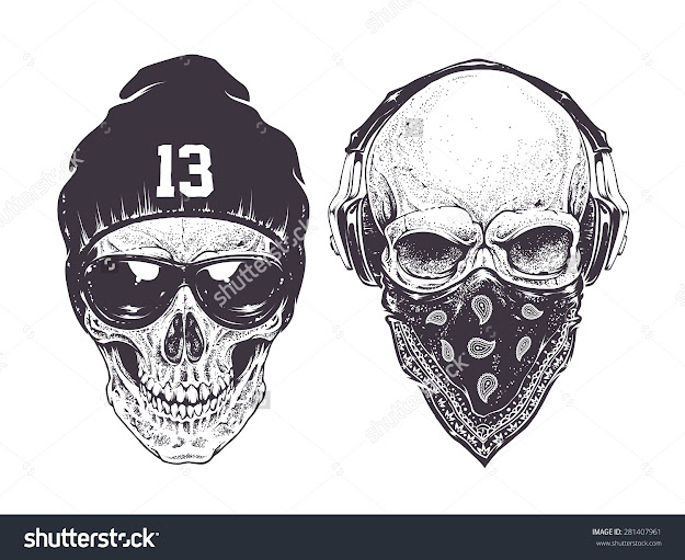 Two Dotwork Skulls With Modern Street Style Attributes Vector Art     Shutterstock