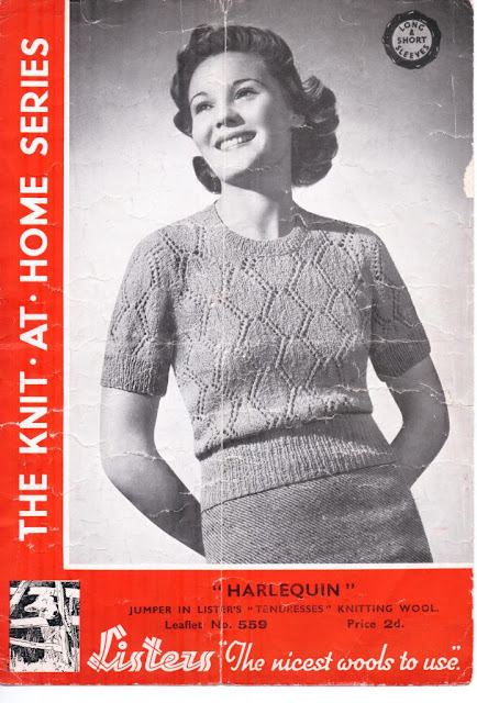 The Vintage Pattern Files: Free 1930s Knitting Pattern - Harlequin Jumper