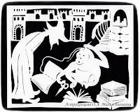силуэтная иллюстрация, Пратчетт, главный Библиотекарь, орангутан, Ринсвинд