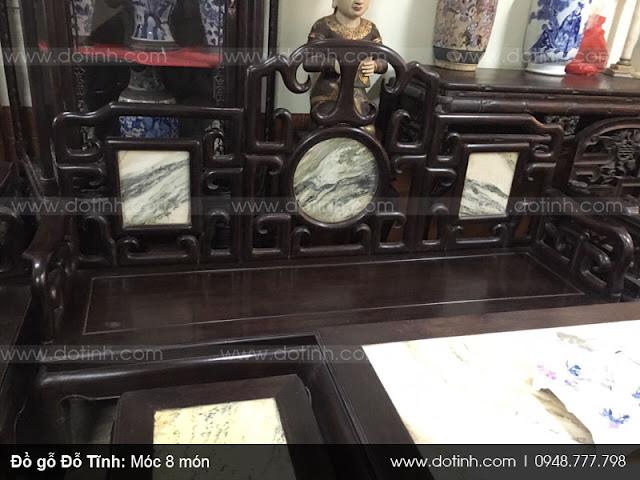Sản phẩm bàn ghế móc gỗ trắc đen 8 món