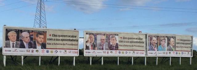 ENTIDADES ESPALHAM 100 OUTDOORS DENUNCIANDO DEPUTADOS DO RS FAVORÁVEIS À REFORMA Alceu Moreira (MDB), Darcísio Perondi (MDB), Jones Martins (MDB), José Fogaça (MDB), Mauro Pereira (MDB), Osmar Terra (MDB), Ronaldo Nogueira (PTB), Renato Molling (PP) e Yeda Crusius (PSDB)