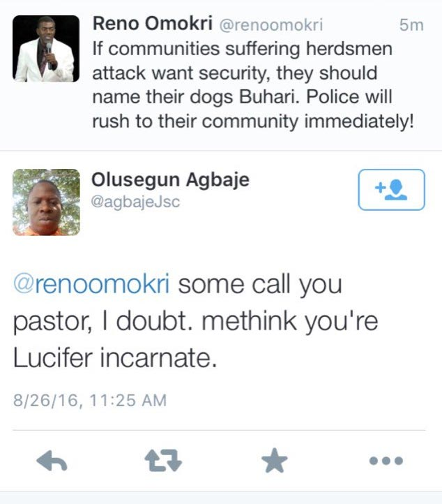 Between Reno Omokri and a Twitter user...
