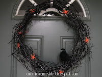 Spooky Black Halloween Wreath with Crow