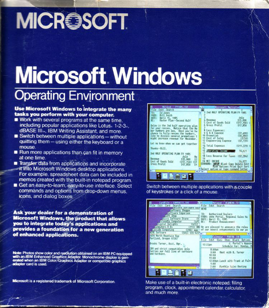 Windows 1.0 box - back
