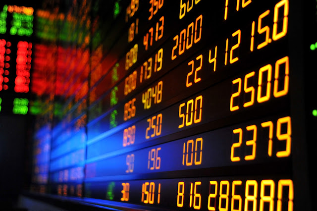 stock market chart seen in led screen