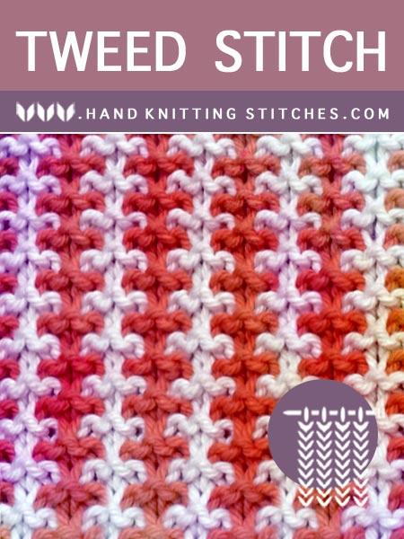 Hand Knitting Stitches - Three and One Tweed Slip Stitch Pattern