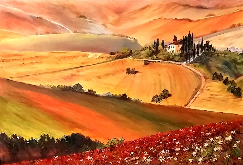 Paesaggi Toscani Dipinti Ad Olio | Piazza Paese Videocorsi Per ...