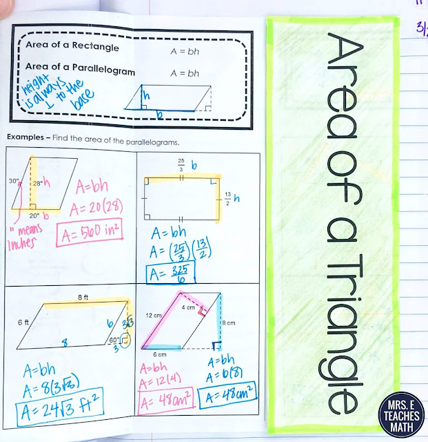 area of parallelograms and triangles foldable for geometry interactive notebooks