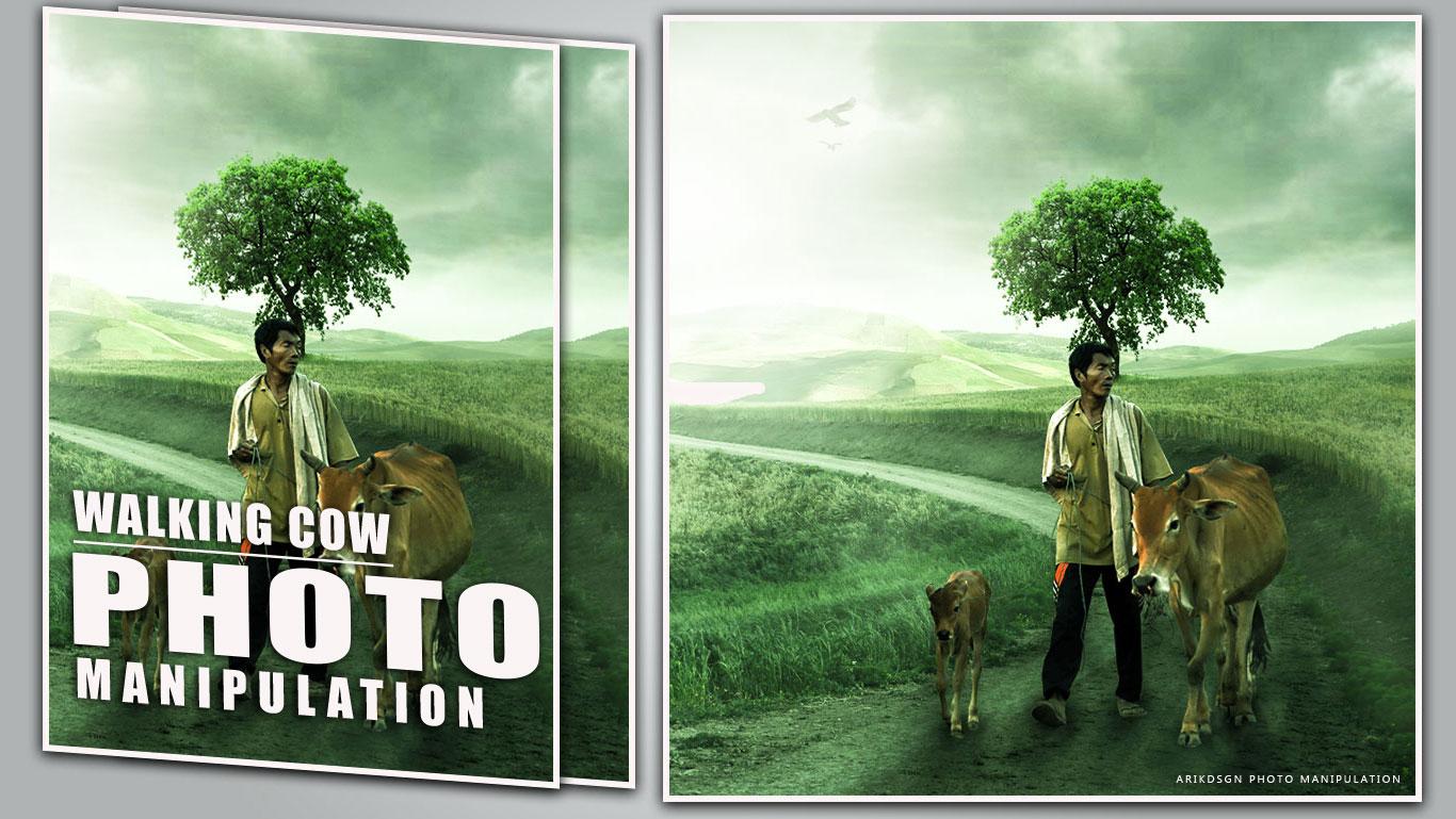 Surprising Walking Cow Photo Manipulation Photoshop Tutorial Arikdsgn Hairstyles For Women Draintrainus