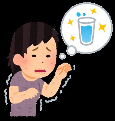 のどが渇いた人のイラスト(女性)
