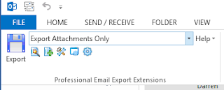 "MessageExport toolbar in Outlook 2013 showing ""Export Attachments Only"" setting."