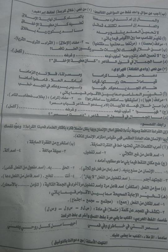 ورقة امتحان اللغة العربية للصف الثالث الاعدادي الفصل الدراسي الثاني 2018 محافظة الدقهلية