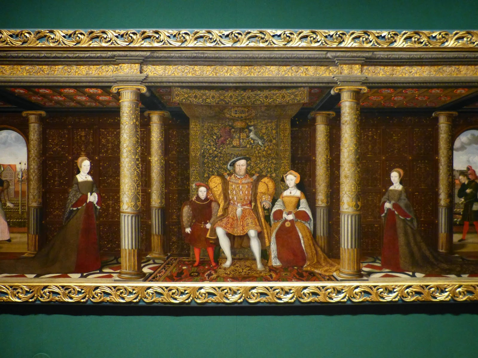 Detail from Family of Henry VIII by British School (c1545)  showing Great Garden at Whitehall Palace in background