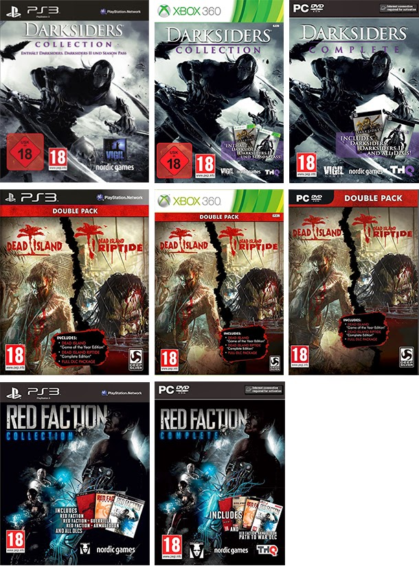Photos des compilation de Darksiders, Dead island, Red Faction