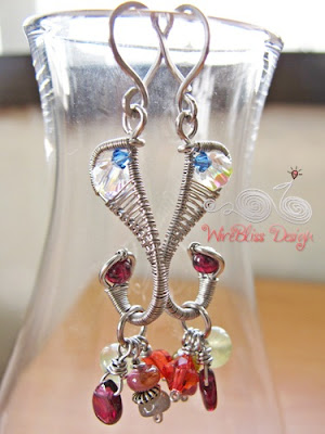 Wire wrapped Seahorse's Tail earrings