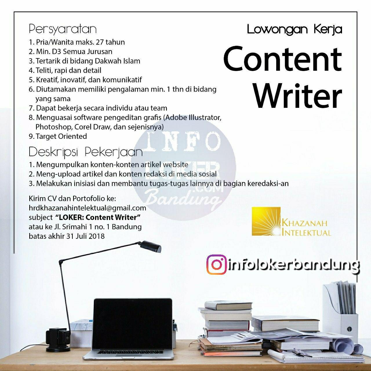Lowongan Kerja PT. Berkah Khazanah Intelektual ( Percikan Iman Online ) Bandung Juli 2018 - infolokerbandung.com