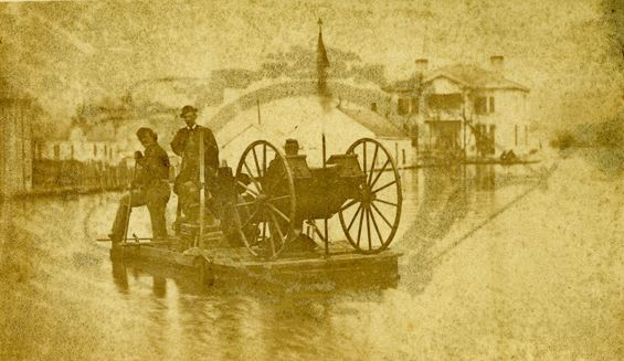 Yankee gun battery on picket duty during a flood in Civil War Helena