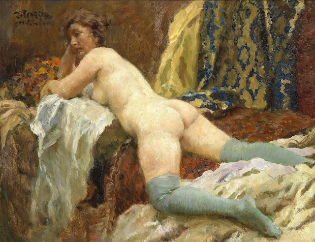 Paul Paede - Nudo femminile con calze - erotismo - dipinti