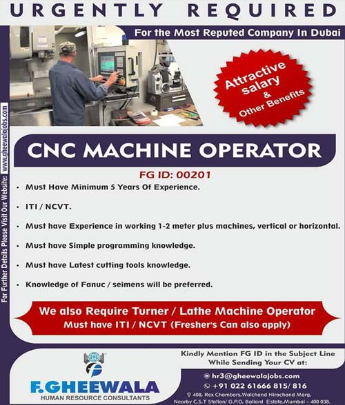 CNC Machine Operator Jobs in Dubai | F. Gheewala Human Resource Consultants Mumbai