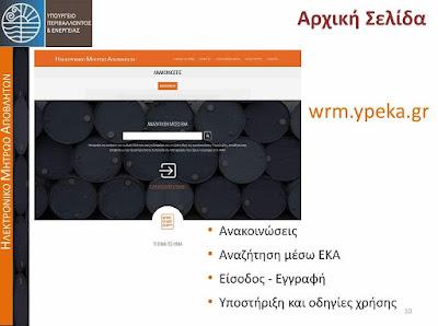 Εφαρμογή - Υπόχρεοι Χρήστες Ηλεκτρονικού Μητρώου Αποβλήτων (ΗΜΑ)
