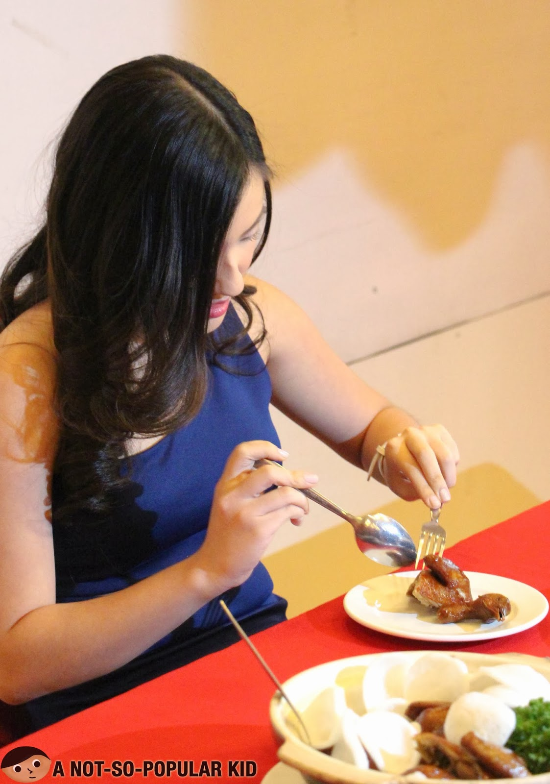 Joyce Ching about to taste the Fried Pigeon for the first Secret Exotic Dish