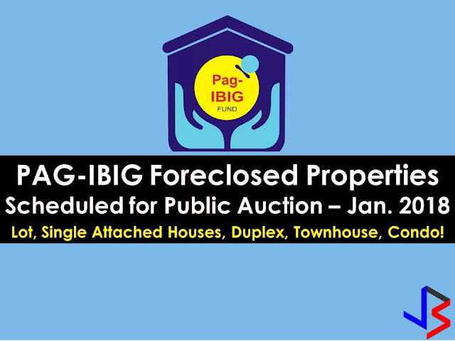 Hundreds of acquired assets of properties of Pag-IBIG Fund will be auctioned this January 2018. Pag-IBIG branches nationwide will be participating in the public auctions. These includes National Capital Region, Davao City and La Union.    If you are looking for properties to buy such as lot townhouse, duplex, Quadro-duplex, row houses, and many others, this is your opportunity to own.  Disclaimer: Thoughtskoto is not affiliated nor is we selling any property from Pag-Ibig Fund. All the information had been verified through Pag-Ibig website. We encourage you to transact only with Pag-Ibig authorized agent in their office when participating in an auction.