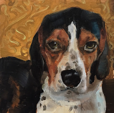 Beagle pet portrait in oil paint by Philine van der Vegte