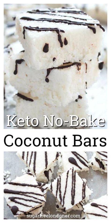 Keto No Bake Coconut Bars #DESSERT #KETO