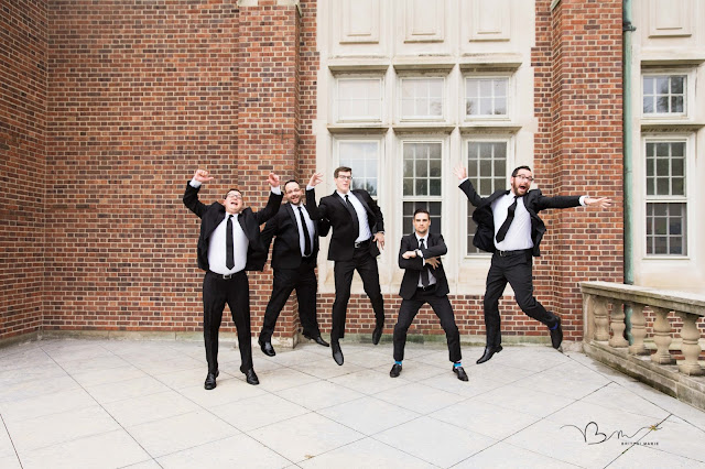 groomsmen jumping at Grosse Point Academy