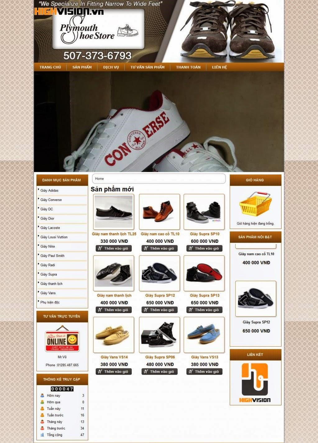 thiết kế website bán hàng giầy thể thao