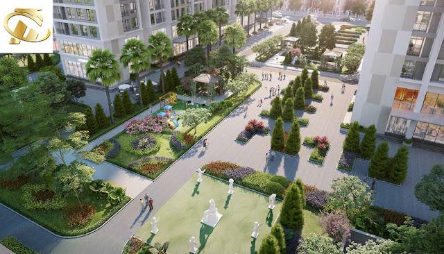 Khuôn viên ngập tràn màu xanh của cây cối