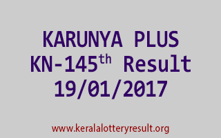 KARUNYA PLUS KN 145 Lottery Results 19-01-2017