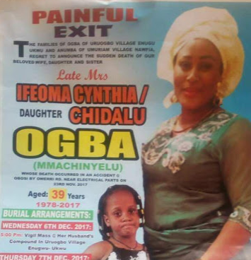 Photo: Mother and her little daughter killed in fatal accident in Anambra to be buried tomorrow