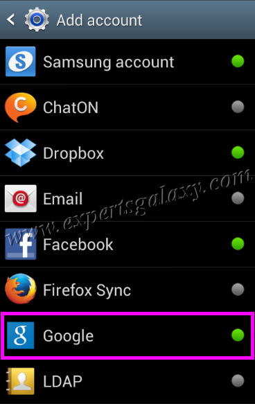 Android Add Account List