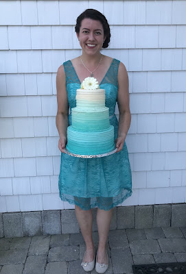 ombre turquoise wedding cake
