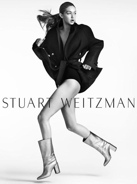 Gigi Hadid in the Straighten Boot for Stuart Weitzman's fall 2016 campaign. Photo: Stuart Weitzman