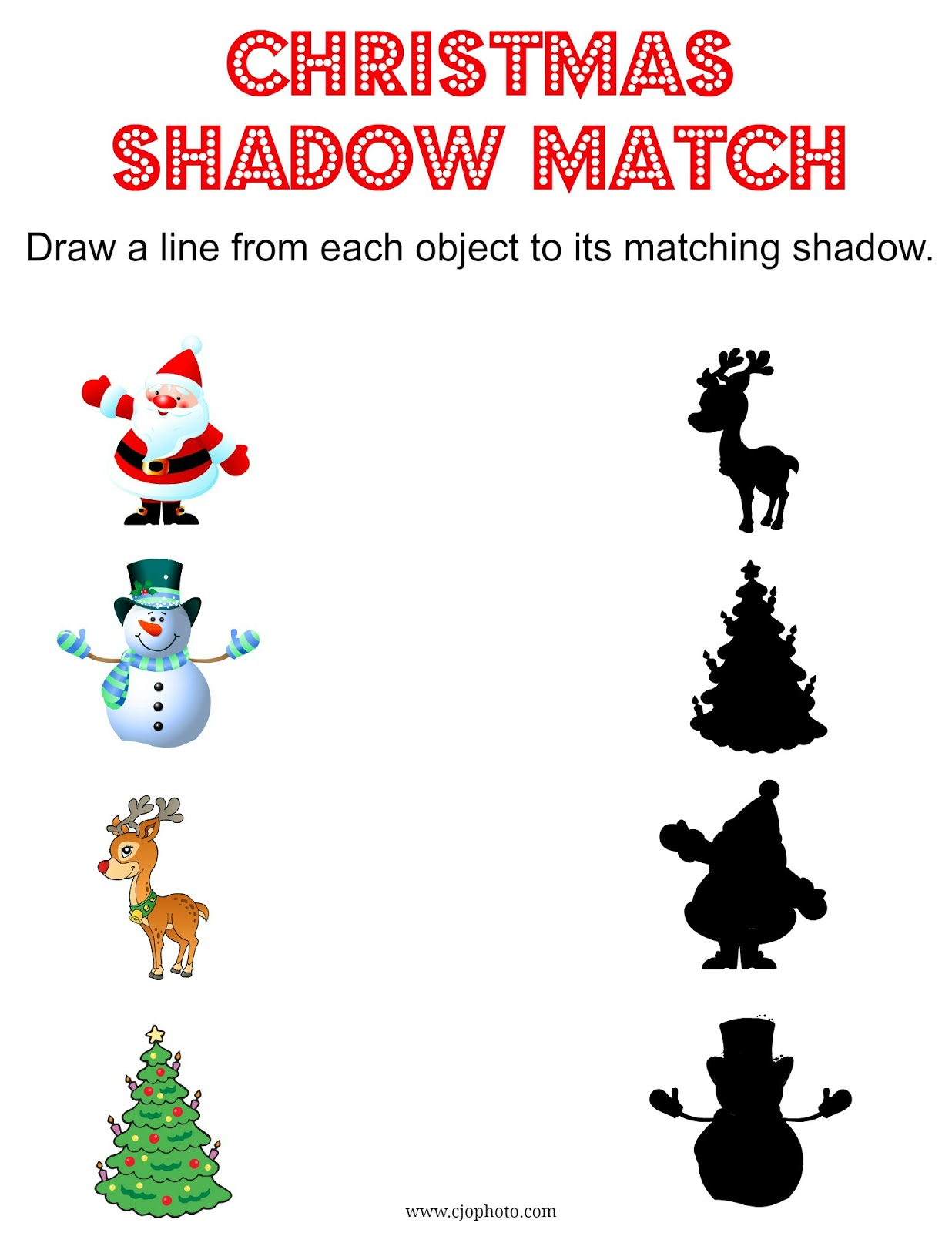 Cjo Photo Printable Christmas Shadow Match Game