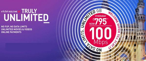Unlimited Broadband plans with Rs.200 discount and 100Mbps speed