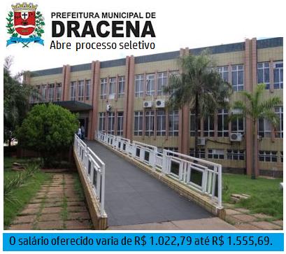 Prefeitura de Dracena abre processo seletivo 01 2017