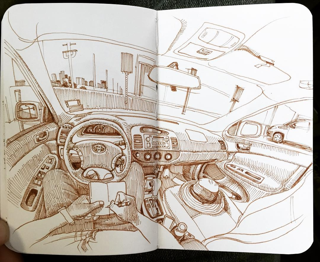 12-In-the-Car-Paul-Heaston-Urban-Sketcher-Inserts-Himself-in-the-Drawing-www-designstack-co