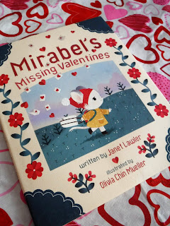 front cover of Mirabel's Missing Valentines featuring a cute mouse girl and decorate floral elements
