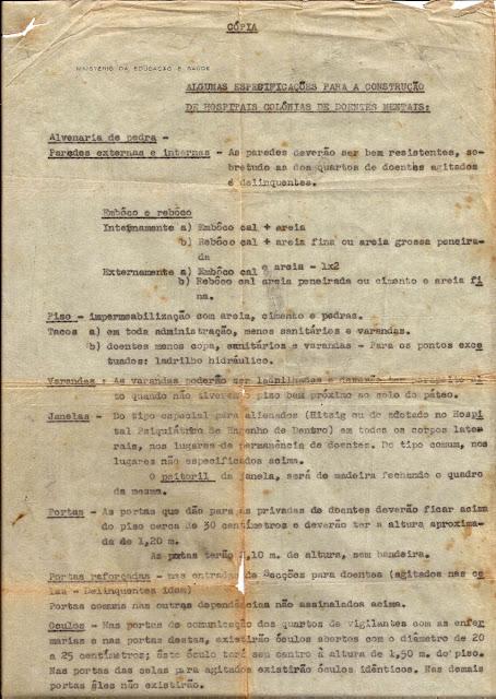 Ministério da Educação e Saúde: especificações para construção de hospitais colônias de doentes mentais, p.1.