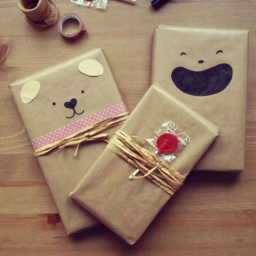 Dibus en papel kraft para personalizar el envoltorio de un regalo