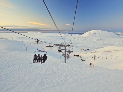 Stok narciarski Blafjoll, Islandia, wyciąg narciarski, narty, snowboard