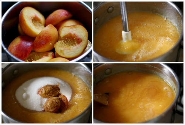 making the peach amaretto jam
