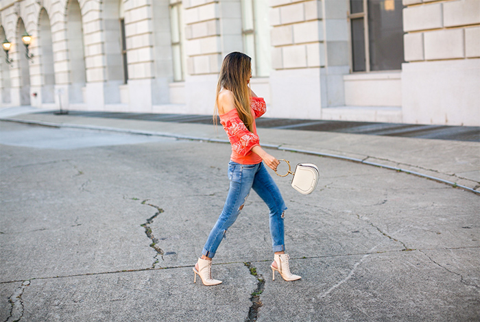 Free people rock with it top, blank denim jeans, chloe nile bag, le specs sunglasses, kendra scott necklace, alice and olivia lace up heels, san francisco fashion blog, san francisco street style, spring outfit ideas