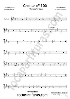 Clarinete Partitura de Cantiga Amigo Sheet Music for Clarinet Music Score