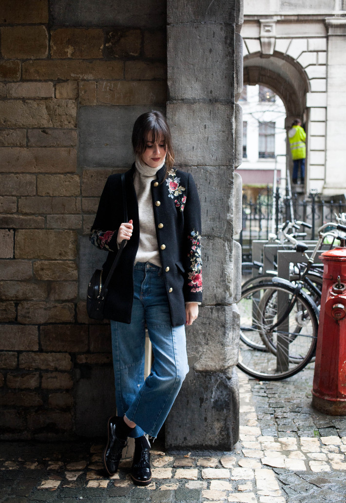 Outfit: embroidered coat, cropped denim, brogues
