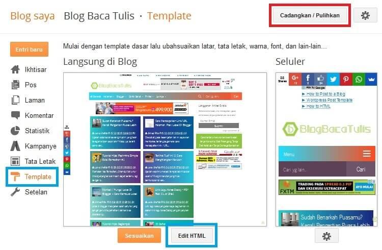 edit html template blogger